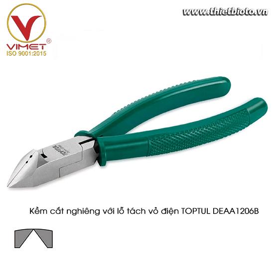 Kềm cắt nghiêng với lỗ tách vỏ điện TOPTUL DEAA1206B