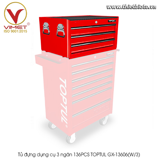 Tủ đựng dụng cụ 3 ngăn 136PCS TOPTUL GX-13606(W/3)