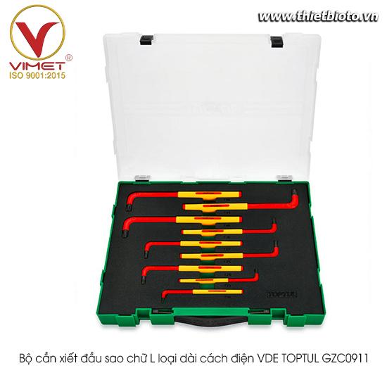 Bộ cần xiết đầu sao chữ L loại dài cách điện VDE TOPTUL GZC0911