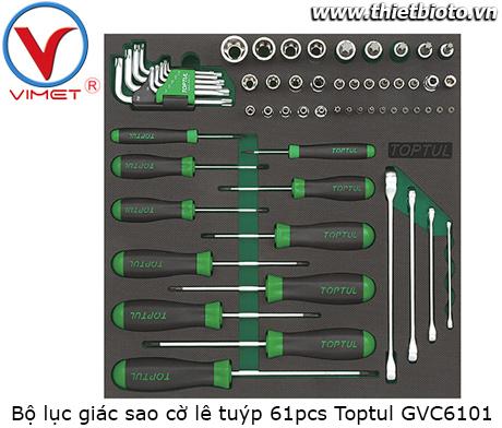 Bộ dụng cụ lục giác sao cờ lê tuýp 61pcs Toptul GVC6101