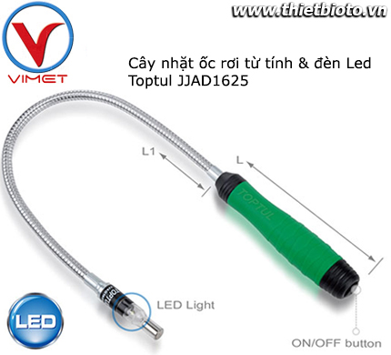 Cây nhặt ốc rơi từ tính đèn LED Toptul JJAD1625