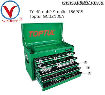 Tủ đồ nghề 9 ngăn 186 chi tiết Toptul GCBZ186A