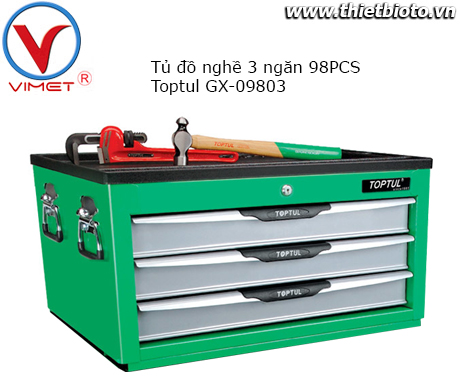 Tủ đồ nghề 3 ngăn 98 chi tiết Toptul GX-09803