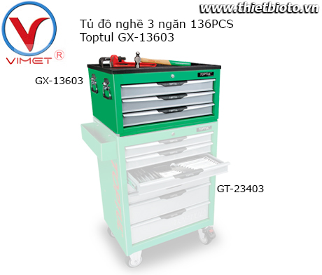 Tủ đồ nghề 3 ngăn 98 chi tiết Toptul GX-13603